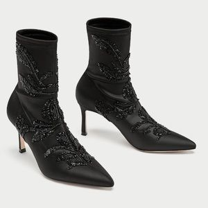 Zara black embroidered satin ankle boot